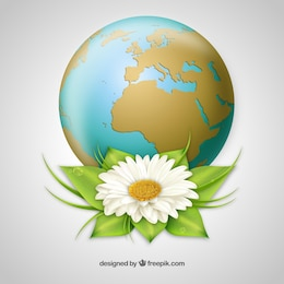 The Earth with a big flower