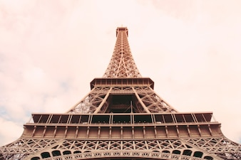 The Eiffel Tower in Paris with Retro Filter Effect