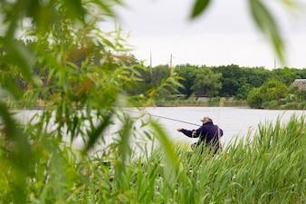 The fisherman is fishing