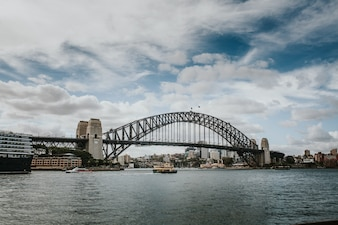 The Harbor Bridge, with the city of Sydney in the background