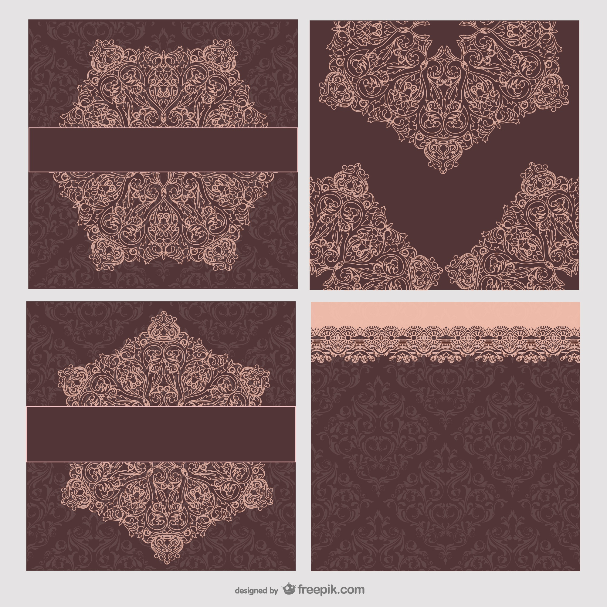 the retro patterns cards    vector material