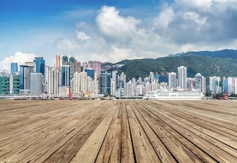 The tall buildings on the edge of Victoria Harbour in Hongkong, the modern city, China