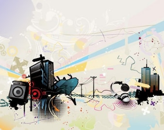 The Trend of Music Illustration Vector Material