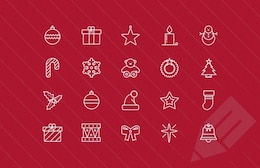 Thin christmas icons collection