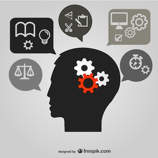 thinking brain image    vector material