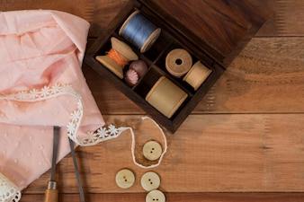 Thread spool with a piece of cloth