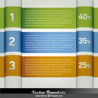 Three banner infographic steps with percent