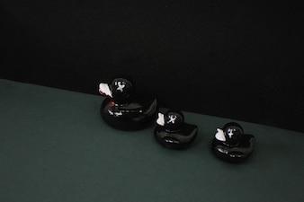 Three black ducks