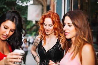 Three chatting women