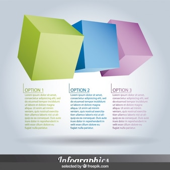 Three colorful horizontal Infographics steps in cube form