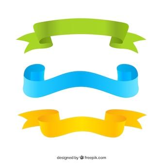 Three colorful ribbons