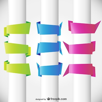 Three colors origami blank banners