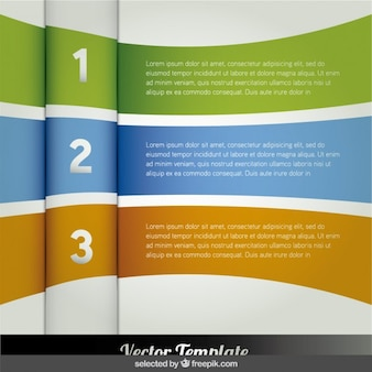 Three curved banners infographic