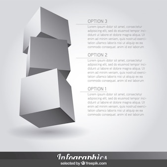 Three Infographics steps in cube form