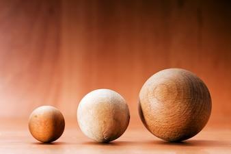 Three spheres of wood