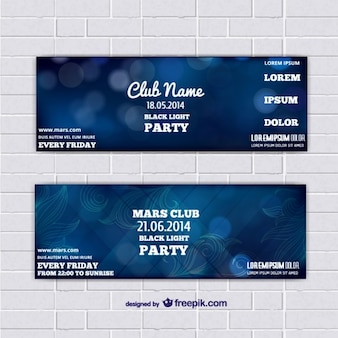 Ticket template banners with blue abstract background