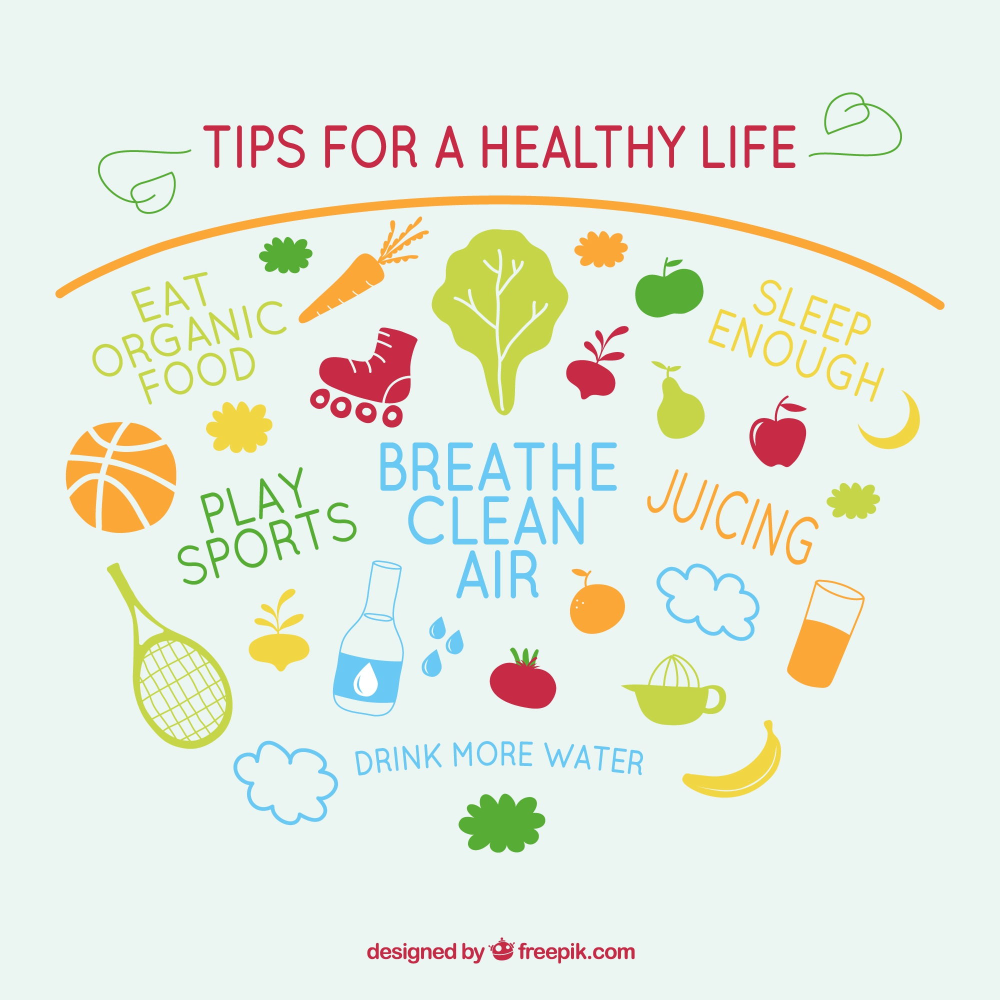 Tips for healthy life vector