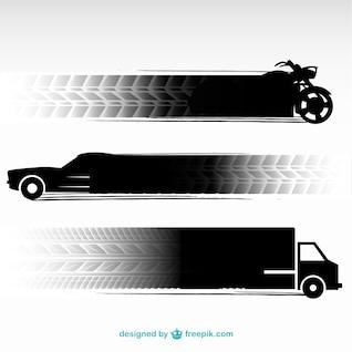 Tire tracks transportation vehicles set
