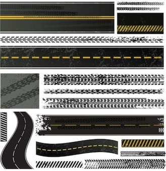 Tire tracks vector graphics