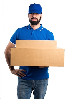 Tired delivery man