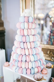 Tired dish served with pink, white and blue macaroons