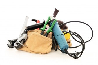 Tools kit on white background