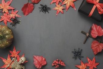 Top view autumn elements on dark background