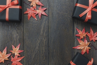 Top view autumn elements on dark background