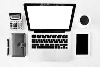 Top view business office desk with copy space hero header image on white background