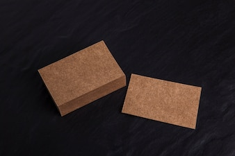 Top view cardboard business card mockup