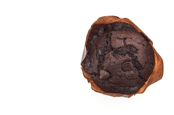 Top view of appetizing chocolate muffin