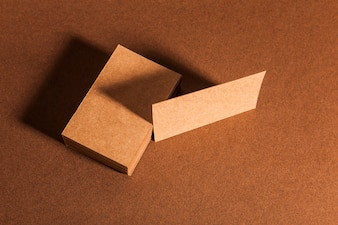 Top view of blank cardboard business cards