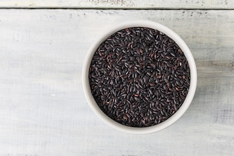 Top view of bowl with black rice