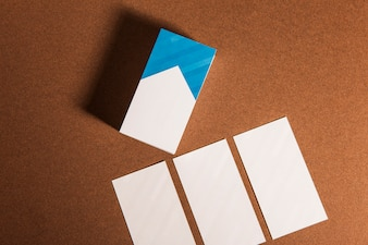 Top view of business cards mockup