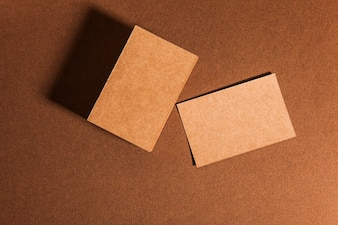 Top view of cardboard business cards