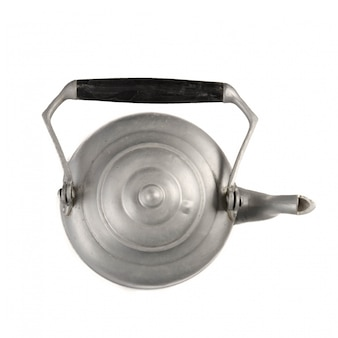 Top view of metallic teapot