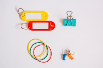 Top view of office supplies