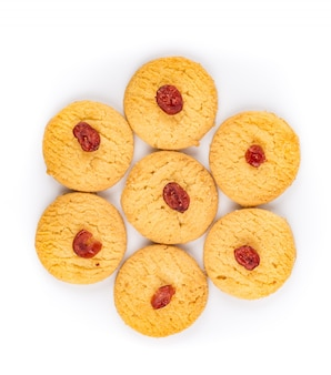 Top view of tasty cookies on white background