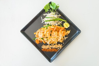 Top view of tasty noodles with prawns