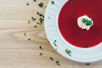Top view of tasty red soup