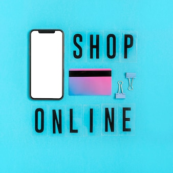 Top view online shopping concept