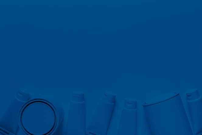 Top view paint can and containers on classic blue color