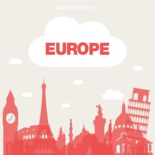 Tourism Europe vector background