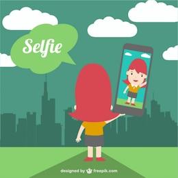 Tourist taking selfie in nature vector
