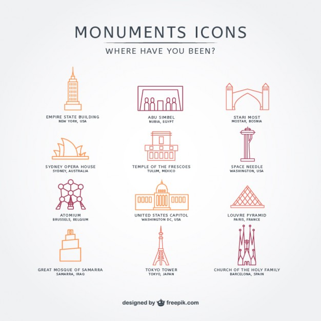 Touristic attraction icon pack