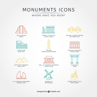 Touristic icons collection