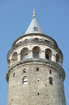 Tower with blue sky behind