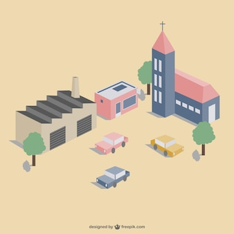 Town 3d view vector