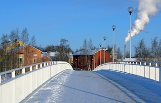 town winter snow finland buildings bridge village
