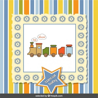 Toy train baby shower card